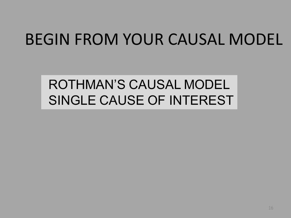 ROTHMAN'S CAUSAL MODEL SINGLE CAUSE OF INTEREST 16 BEGIN FROM YOUR CAUSAL MODEL