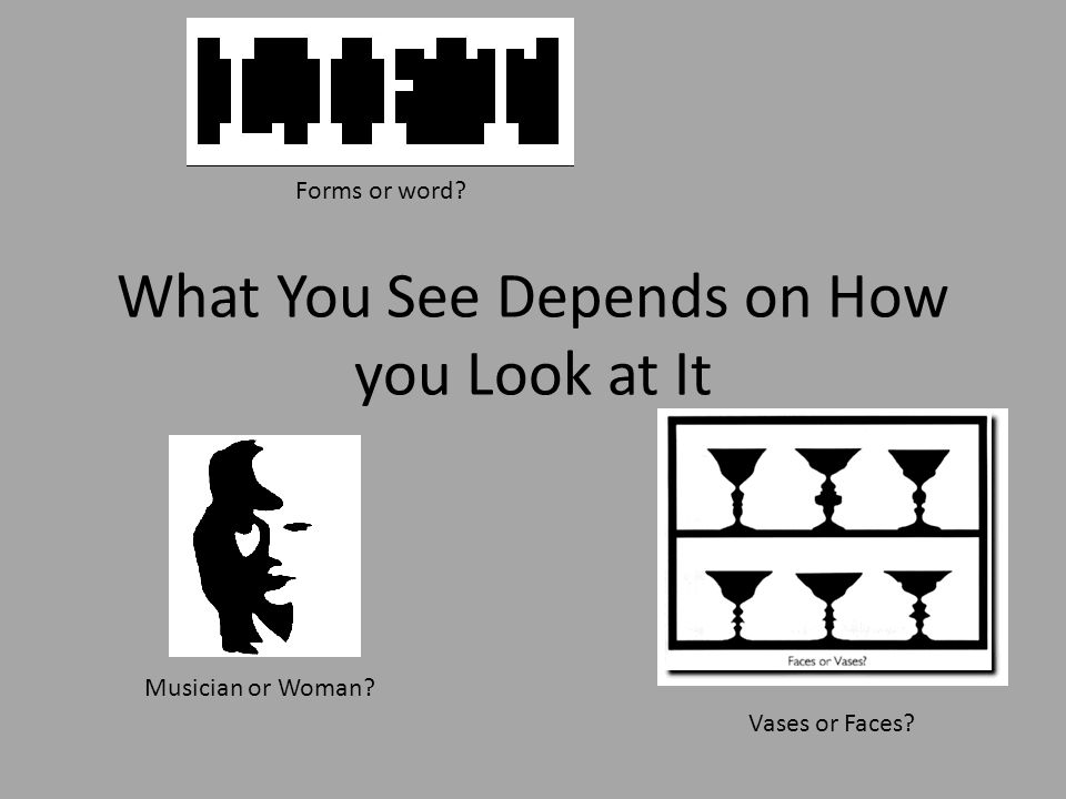 What You See Depends on How you Look at It Forms or word Musician or Woman Vases or Faces
