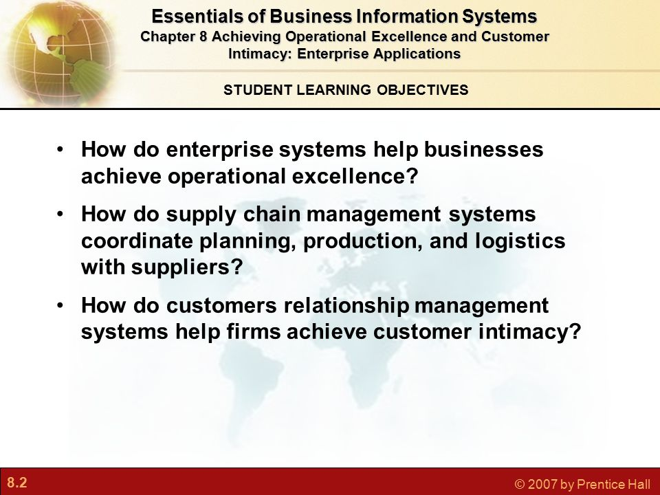 8.13 © 2007 by Prentice Hall Information and Supply Chain Management Inefficiencies cut into a company's operating costs Can waste up to 25% of operating expenses Just-in-time strategy: Components arrive as they are needed Finished goods shipped after leaving assembly line Safety stock Buffer for lack of flexibility in supply chain Bullwhip effect Information about product demand gets distorted as it passes from one entity to next across supply chain Essentials of Business Information Systems Chapter 8 Achieving Operational Excellence and Customer Intimacy: Enterprise Applications Supply Chain Management Systems