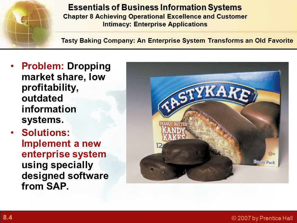 8.5 © 2007 by Prentice Hall Tasty Baking Company: An Enterprise System Transforms an Old Favorite SAP's enterprise system and Microsoft SQL Server database helped Tasty increase sales and reduce writedowns.
