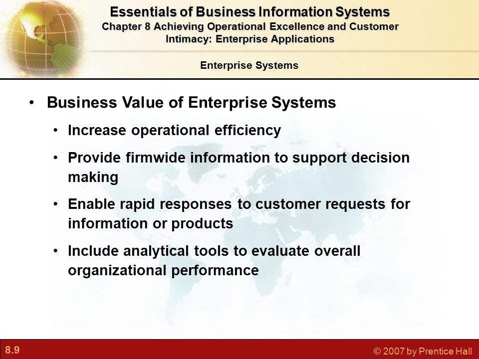 8.20 © 2007 by Prentice Hall Push- Versus Pull-Based Supply Chain Models Figure 8-5 The difference between push- and pull-based models is summarized by the slogan Make what we sell, not sell what we make. Essentials of Business Information Systems Chapter 8 Achieving Operational Excellence and Customer Intimacy: Enterprise Applications Supply Chain Management Systems