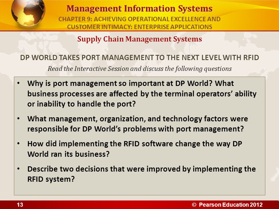 Management Information Systems Read the Interactive Session and discuss the following questions Why is port management so important at DP World? What