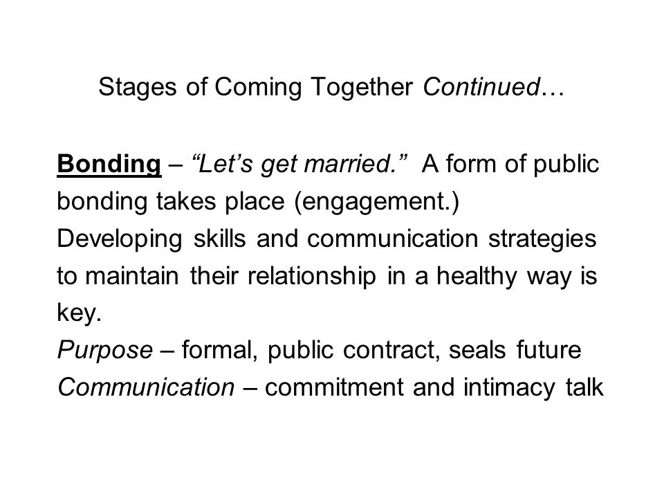 Stages of Coming Together Continued… Intensifying – explore more intimate aspects of other; I want to date you. Purpose – growth of the relationship, risk-taking, develop uniqueness in the relationship Communication – self-disclosure, private verbal/nonverbal messages.