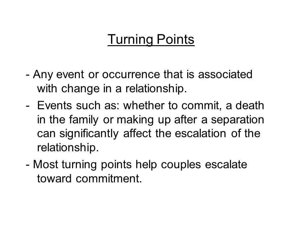 Research on Relationship Escalation -Relationships are not usually linear -Relationships grow in intimacy to a point, then subside as the relationship becomes stable -Intimate communication is highest in the six to nine week range -Intimate messages tend to subside toward the end of the escalation process -Seriously dating and marriage bound participants touch each other more than married people -Couple become less satisfied with their relationship during their first year of marriage -Relational escalation is marked by ebbs and flows