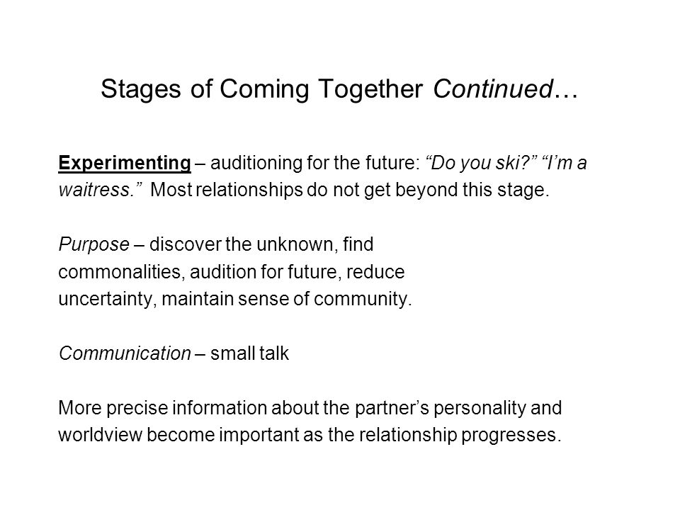 Stages of Relational Escalation/ Coming Together (movement throughout these can be: forward or backward, fast or slow, sequential or not sequential.) Initiating – coming into contact with someone; Hi…I'm a Libra. This is the most difficult stage.