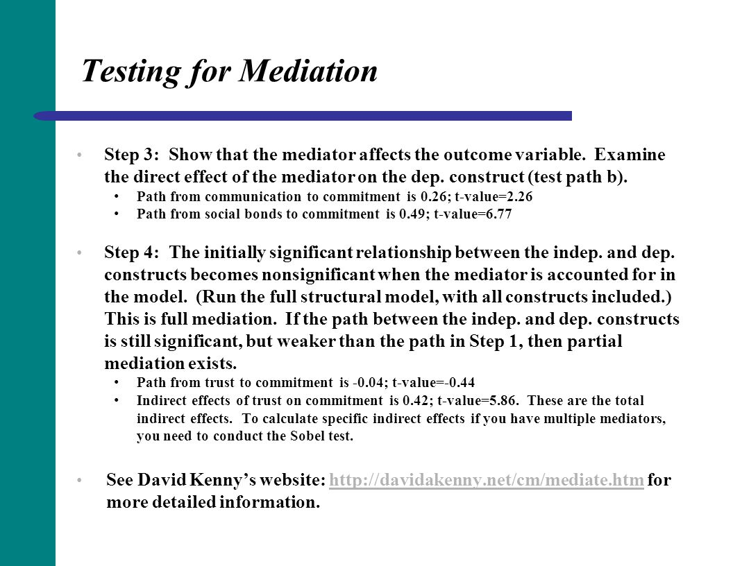 Testing for Mediation Step 3: Show that the mediator affects the outcome variable. Examine the direct effect of the mediator on the dep. construct (te
