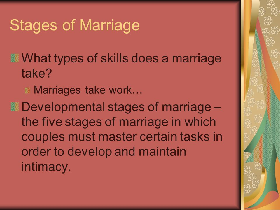 5 Stages of Marriage The 1 st stage: first two years Newly married couple overcomes their idealistic notions of marriage and begin to form a family Maintain individual identity Develop cooperation and reduce the need to control one another Develop a sexual bond that leads to deeper intimacy Develop an effective decision making style Recognize difficulties in their parents' marriages and anticipate how those difficulties might affect their marriage