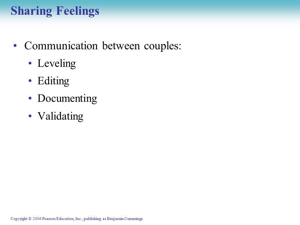 Copyright © 2006 Pearson Education, Inc., publishing as Benjamin Cummings Sharing Feelings Communication between couples: Leveling Editing Documenting Validating