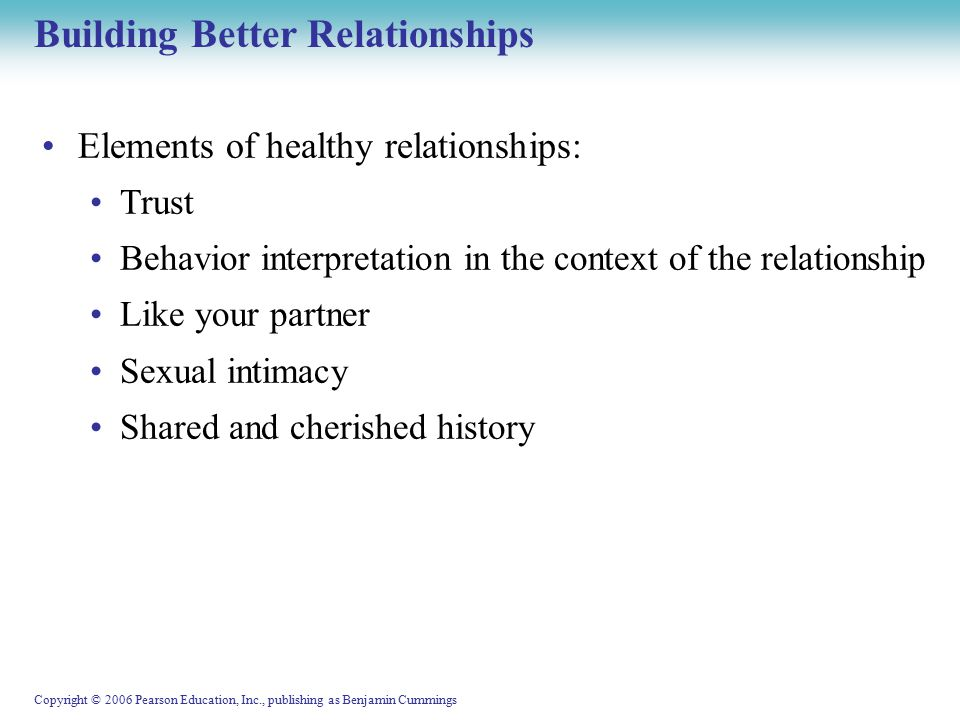 Copyright © 2006 Pearson Education, Inc., publishing as Benjamin Cummings Building Better Relationships Elements of healthy relationships: Trust Behavior interpretation in the context of the relationship Like your partner Sexual intimacy Shared and cherished history
