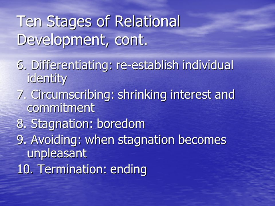 Ten Stages of Relational Development, cont. 6. Differentiating: re-establish individual identity 7. Circumscribing: shrinking interest and commitment