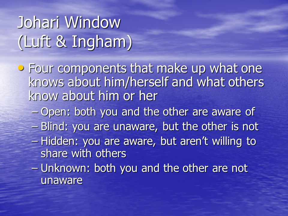 Johari Window (Luft & Ingham) Four components that make up what one knows about him/herself and what others know about him or her Four components that