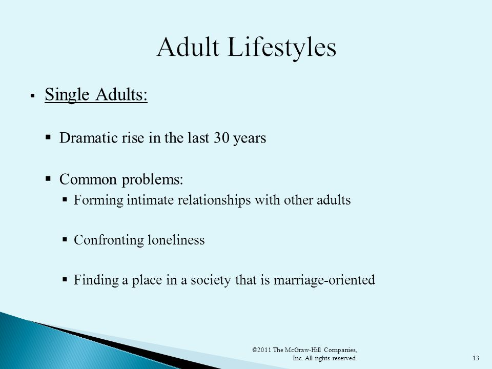13  Single Adults:  Dramatic rise in the last 30 years  Common problems:  Forming intimate relationships with other adults  Confronting loneliness  Finding a place in a society that is marriage-oriented ©2011 The McGraw-Hill Companies, Inc.