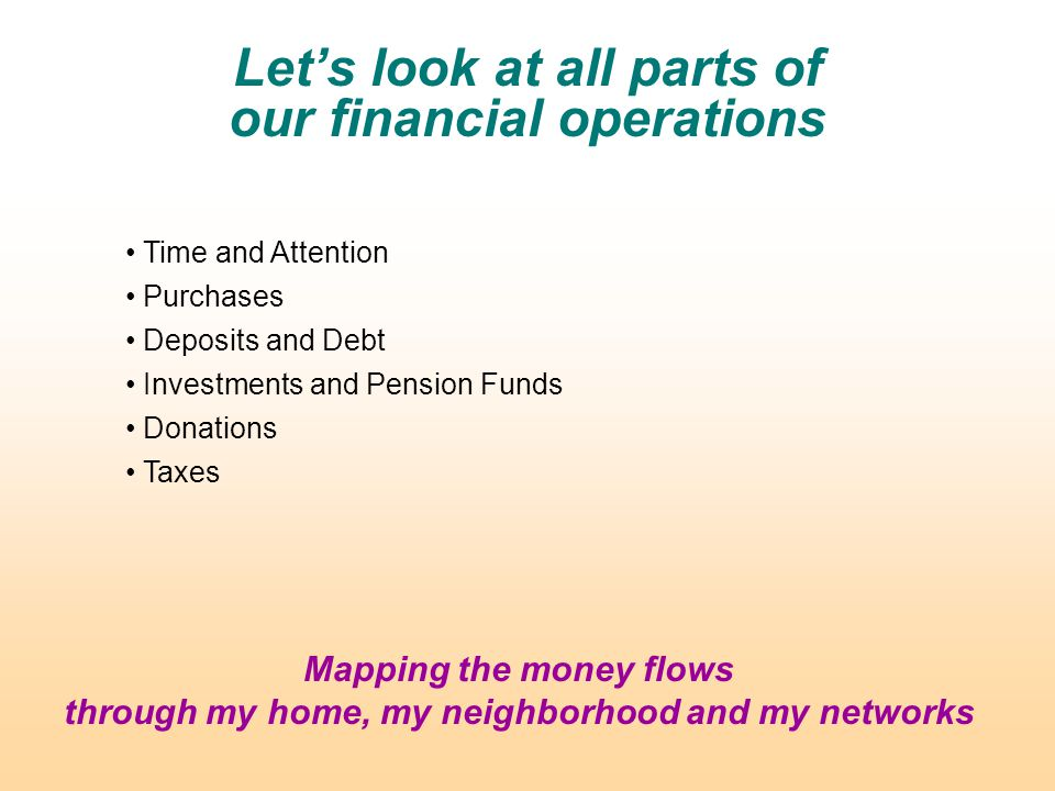 Let's look at all parts of our financial operations Time and Attention Purchases Deposits and Debt Investments and Pension Funds Donations Taxes Mapping the money flows through my home, my neighborhood and my networks