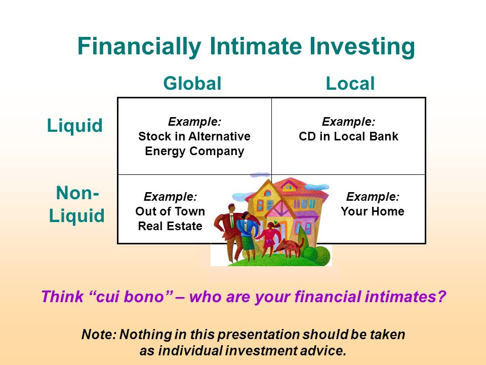 Financially Intimate Investing GlobalLocal Non- Liquid Liquid Note: Nothing in this presentation should be taken as individual investment advice.