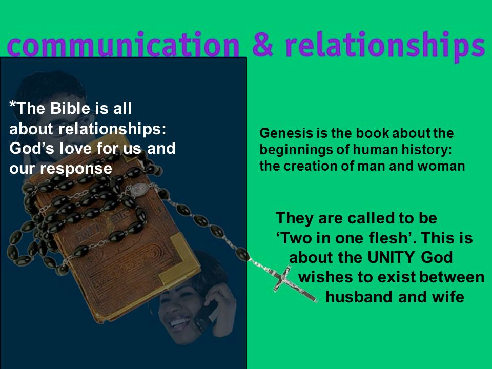 Genesis is the book about the beginnings of human history: the creation of man and woman They are called to be 'Two in one flesh'.