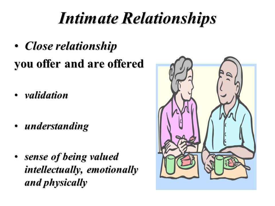 Intimate Relationships Close relationshipClose relationship you offer and are offered validationvalidation understandingunderstanding sense of being valued intellectually, emotionally and physicallysense of being valued intellectually, emotionally and physically
