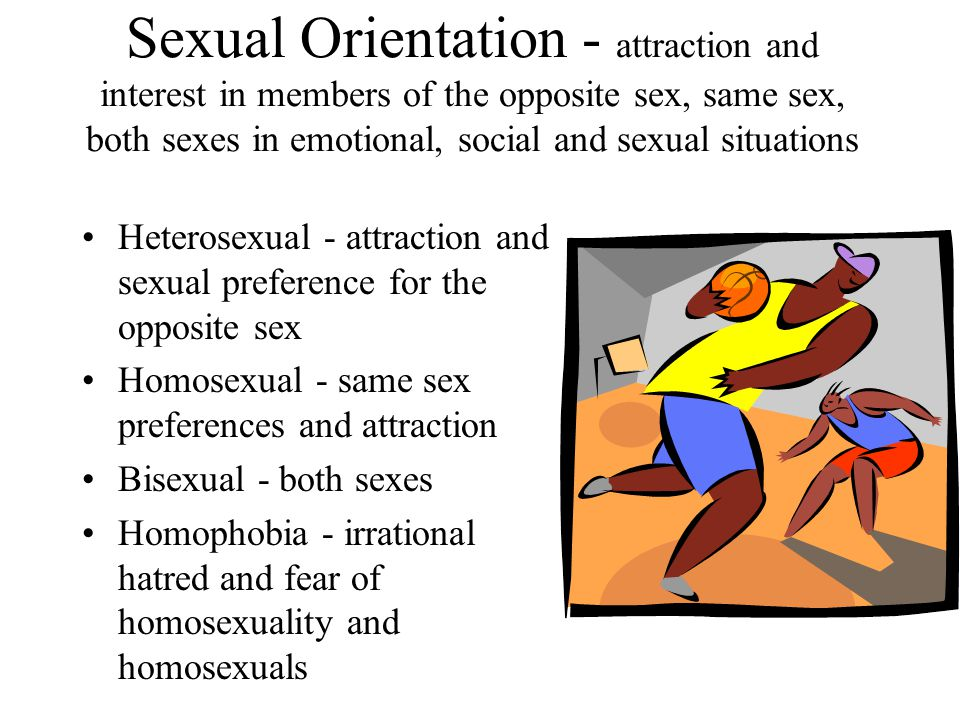 Sexual Orientation - attraction and interest in members of the opposite sex, same sex, both sexes in emotional, social and sexual situations Heterosexual - attraction and sexual preference for the opposite sex Homosexual - same sex preferences and attraction Bisexual - both sexes Homophobia - irrational hatred and fear of homosexuality and homosexuals