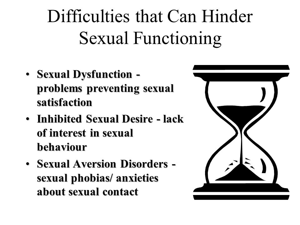 Difficulties that Can Hinder Sexual Functioning Sexual Dysfunction - problems preventing sexual satisfactionSexual Dysfunction - problems preventing s