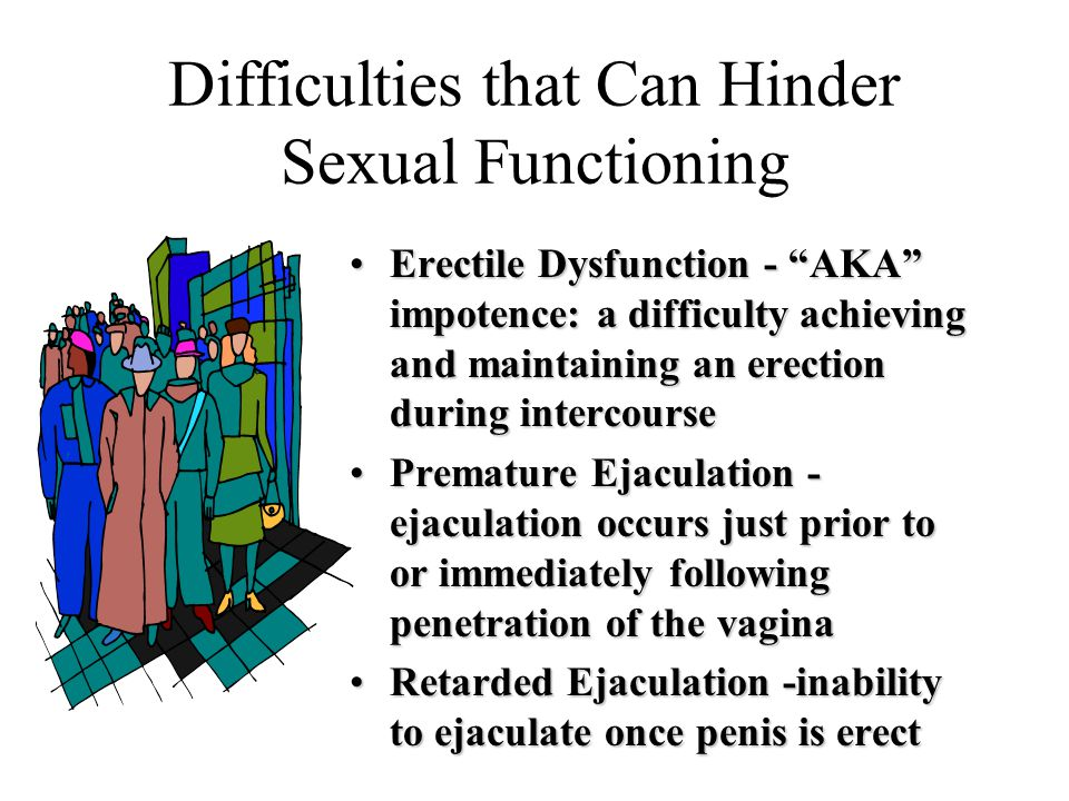 Difficulties that Can Hinder Sexual Functioning Erectile Dysfunction - AKA impotence: a difficulty achieving and maintaining an erection during intercourseErectile Dysfunction - AKA impotence: a difficulty achieving and maintaining an erection during intercourse Premature Ejaculation - ejaculation occurs just prior to or immediately following penetration of the vaginaPremature Ejaculation - ejaculation occurs just prior to or immediately following penetration of the vagina Retarded Ejaculation -inability to ejaculate once penis is erectRetarded Ejaculation -inability to ejaculate once penis is erect