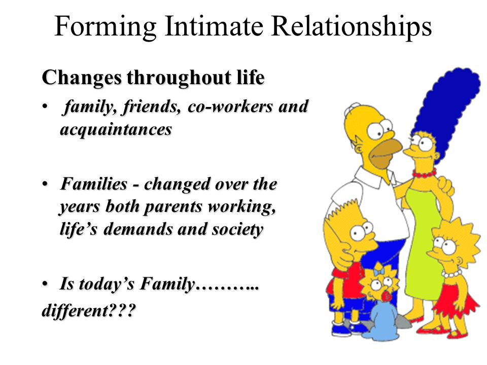Forming Intimate Relationships Changes throughout life family, friends, co-workers and acquaintances Families - changed over the years both parents working, life's demands and societyFamilies - changed over the years both parents working, life's demands and society Is today's Family………..Is today's Family………..different