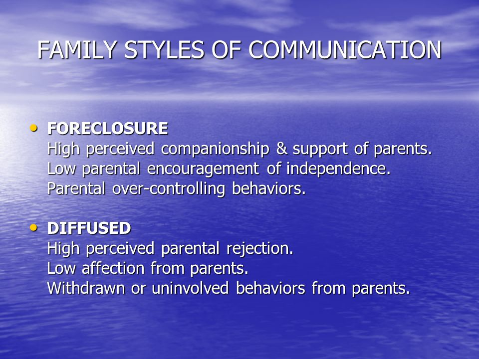 FAMILY STYLES OF COMMUNICATION FORECLOSURE FORECLOSURE High perceived companionship & support of parents.
