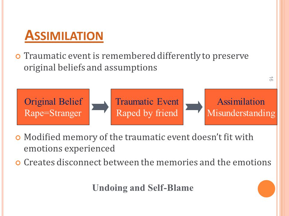 16 A SSIMILATION Traumatic event is remembered differently to preserve original beliefs and assumptions Modified memory of the traumatic event doesn't