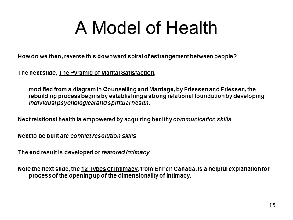 15 A Model of Health How do we then, reverse this downward spiral of estrangement between people? The next slide, The Pyramid of Marital Satisfaction,