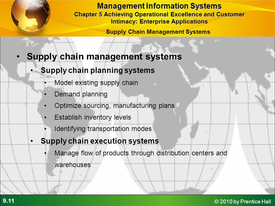 9.11 © 2010 by Prentice Hall Supply chain management systems Supply chain planning systems Model existing supply chain Demand planning Optimize sourci