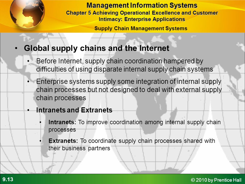 9.13 © 2010 by Prentice Hall Global supply chains and the Internet Before Internet, supply chain coordination hampered by difficulties of using dispar