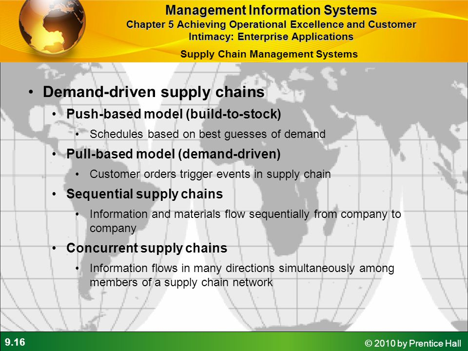 9.16 © 2010 by Prentice Hall Demand-driven supply chains Push-based model (build-to-stock) Schedules based on best guesses of demand Pull-based model