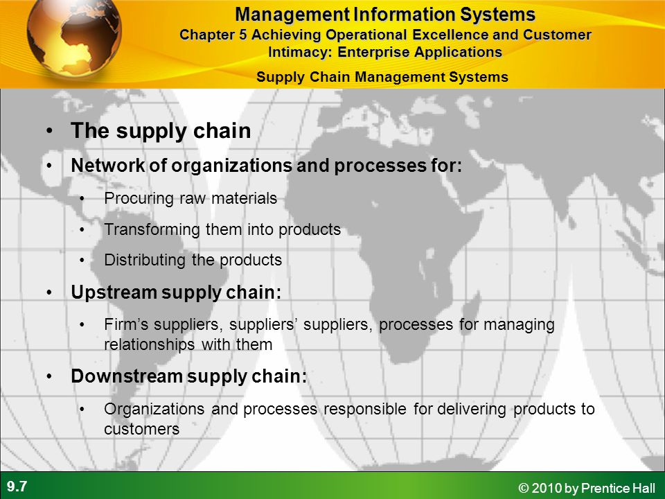 9.7 © 2010 by Prentice Hall The supply chain Network of organizations and processes for: Procuring raw materials Transforming them into products Distr