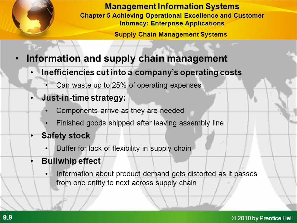 9.9 © 2010 by Prentice Hall Information and supply chain management Inefficiencies cut into a company's operating costs Can waste up to 25% of operati
