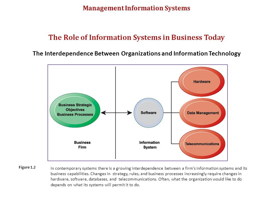 Management Information Systems The Role of Information Systems in Business Today The Interdependence Between Organizations and Information Technology