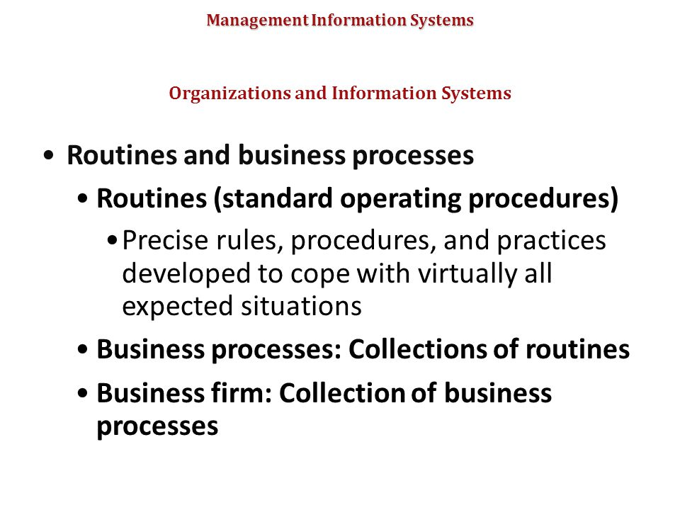 Management Information Systems Routines and business processes Routines (standard operating procedures) Precise rules, procedures, and practices devel
