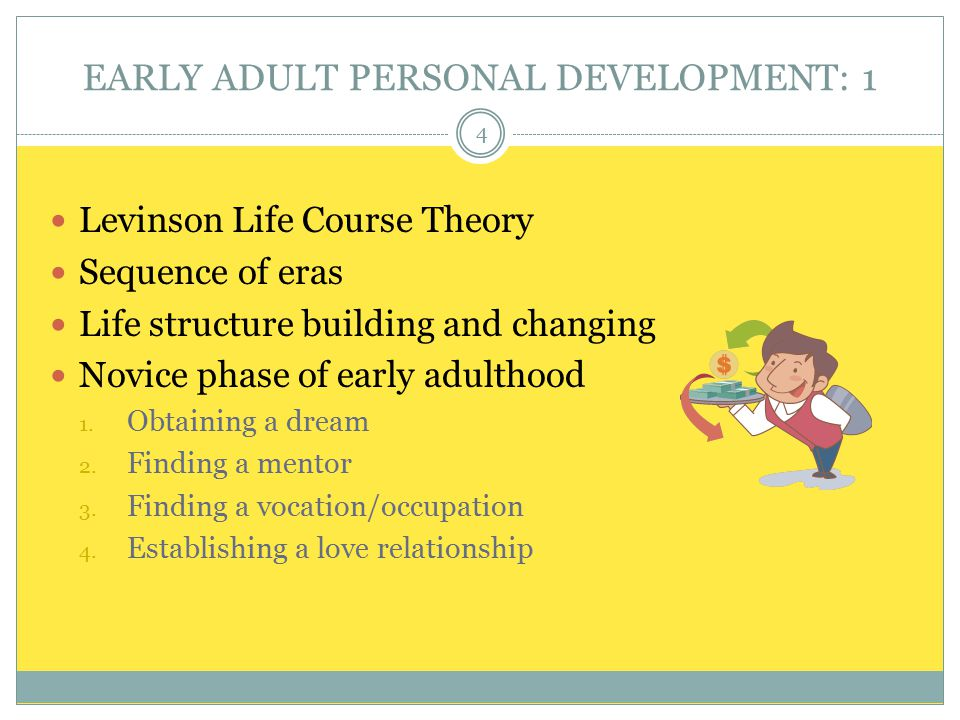 EARLY ADULT PERSONAL DEVELOPMENT: 1 Levinson Life Course Theory Sequence of eras Life structure building and changing Novice phase of early adulthood 1.