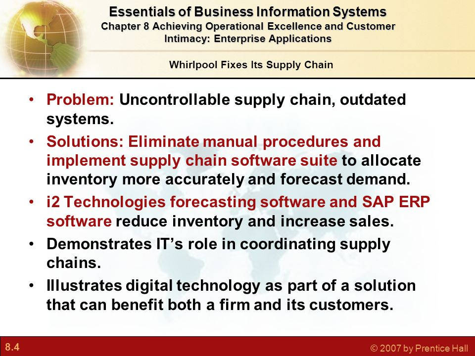 8.25 © 2007 by Prentice Hall Getting more value from enterprise applications Flexibility Integration with other systems Enterprise suites Links to customer and supplier systems Enterprise Applications: New Opportunities and Challenges Essentials of Business Information Systems Chapter 8 Achieving Operational Excellence and Customer Intimacy: Enterprise Applications Extending Enterprise Software