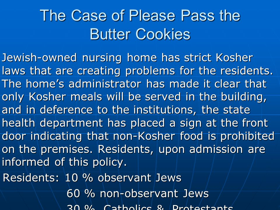 The Case of Please Pass the Butter Cookies Jewish-owned nursing home has strict Kosher laws that are creating problems for the residents.