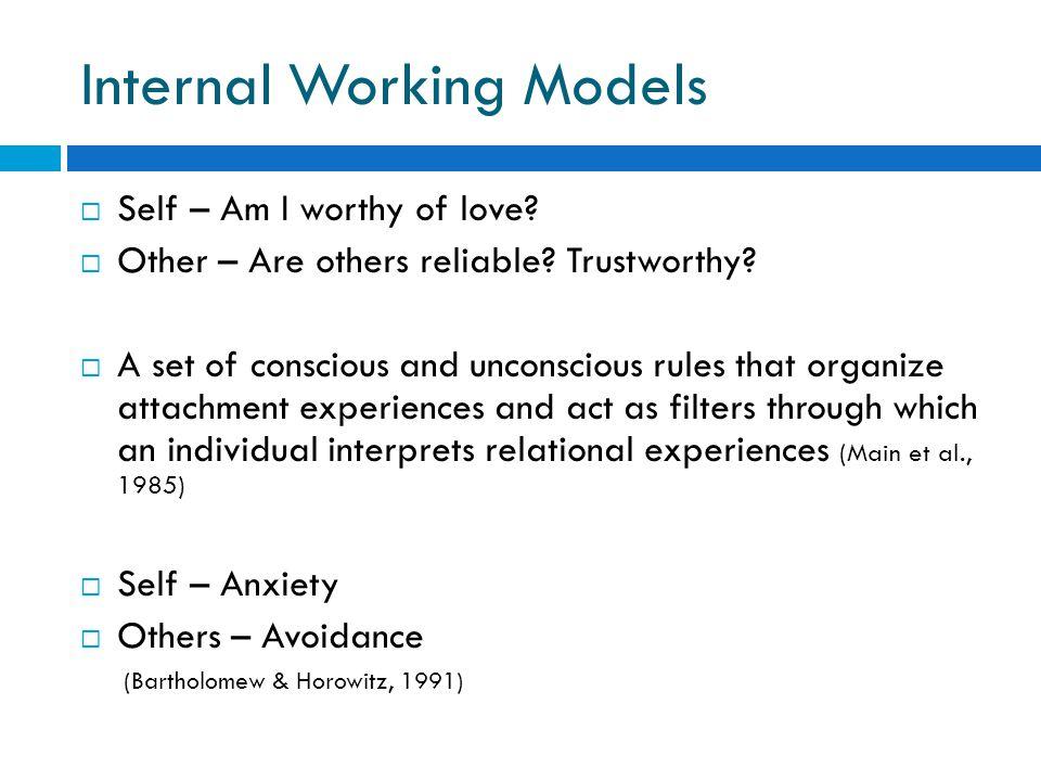 Internal Working Models  Self – Am I worthy of love.
