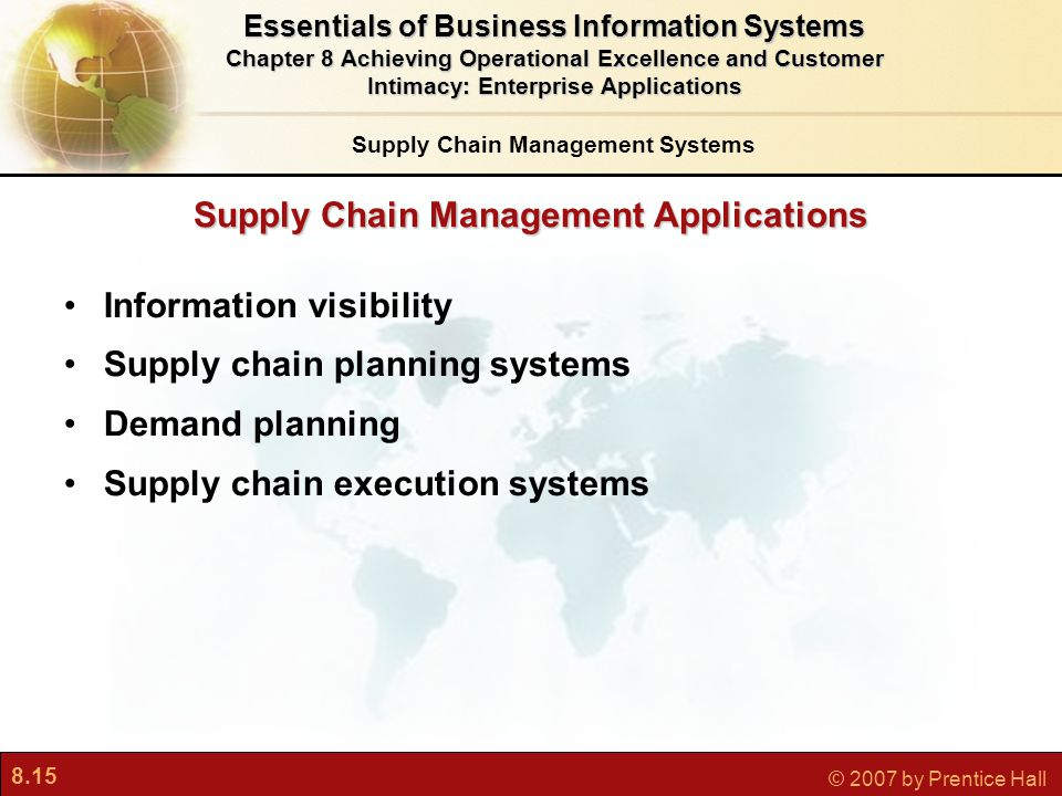 8.15 © 2007 by Prentice Hall Supply Chain Management Applications Information visibility Supply chain planning systems Demand planning Supply chain ex