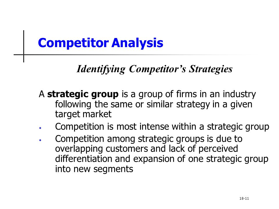 Competitor Analysis Identifying Competitor's Strategies A strategic group is a group of firms in an industry following the same or similar strategy in