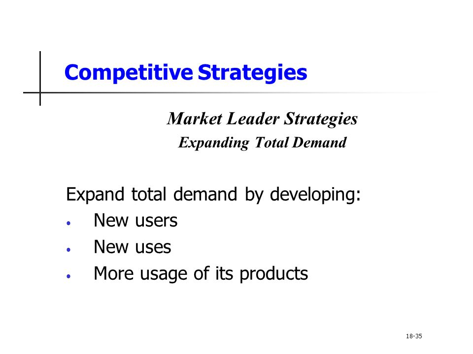 Competitive Strategies Market Leader Strategies Expanding Total Demand Expand total demand by developing: New users New uses More usage of its product