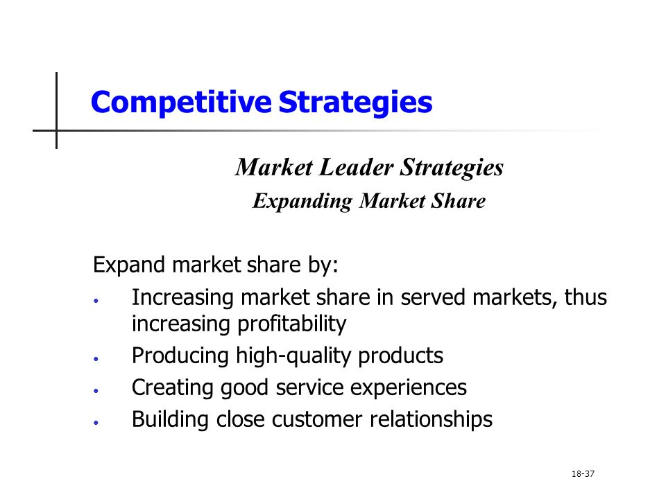 Competitive Strategies Market Leader Strategies Expanding Market Share Expand market share by: Increasing market share in served markets, thus increas