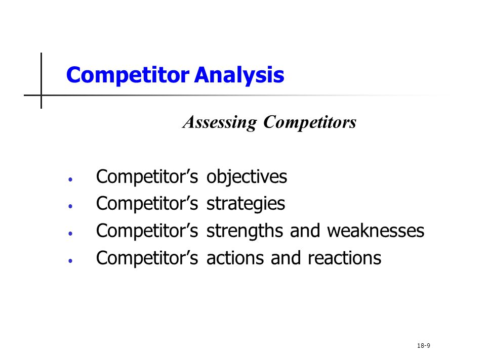 Competitive Strategies Market Nicher Strategies Ideal market niche is big enough to be profitable with high growth potential and has little interest from competitors Key to market niching is specialization Market Customer Product Marketing mix 18-40