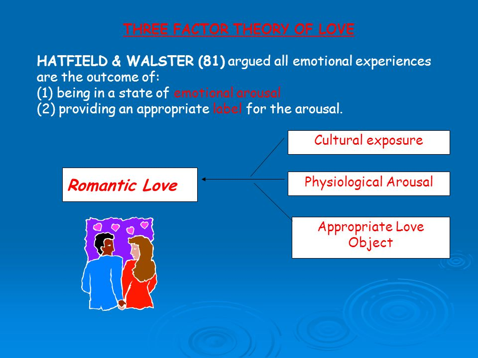 Cultural exposure Physiological Arousal Appropriate Love Object Romantic Love THREE FACTOR THEORY OF LOVE HATFIELD & WALSTER (81) argued all emotional experiences are the outcome of: (1) being in a state of emotional arousal (2) providing an appropriate label for the arousal.