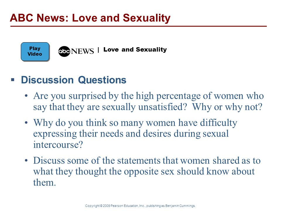 Copyright © 2009 Pearson Education, Inc., publishing as Benjamin Cummings.  Discussion Questions Are you surprised by the high percentage of women wh