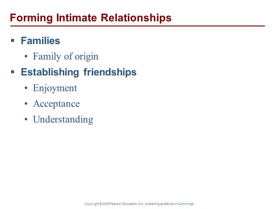 Copyright © 2009 Pearson Education, Inc., publishing as Benjamin Cummings. Forming Intimate Relationships  Families Family of origin  Establishing f