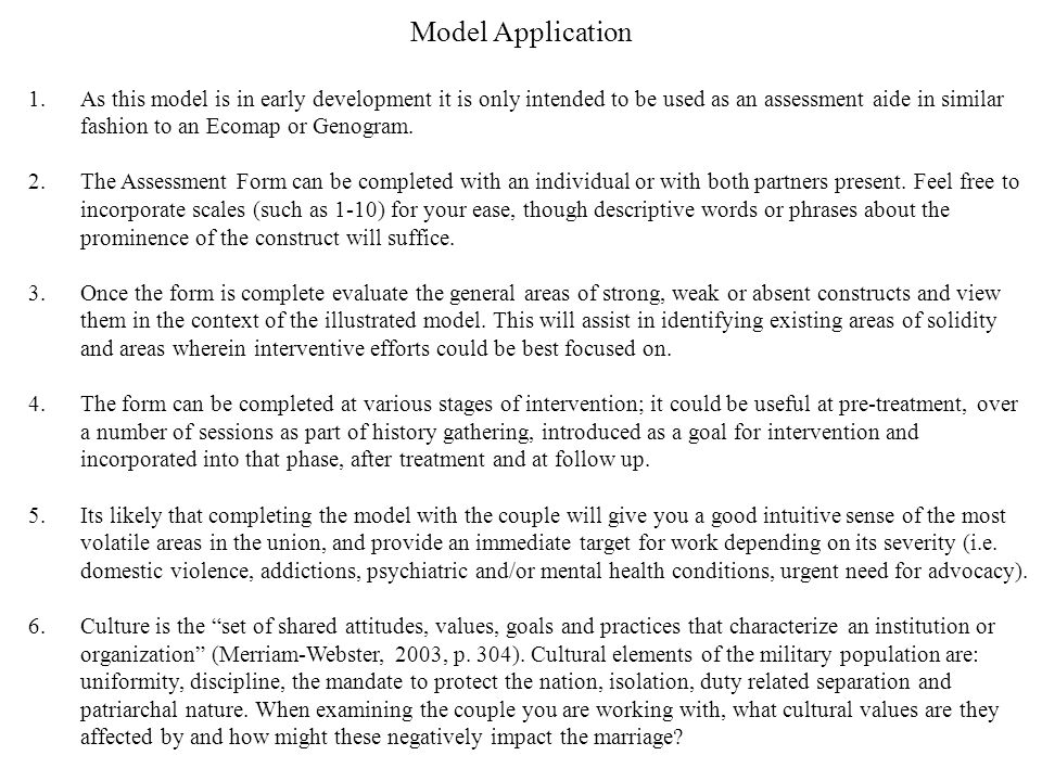 Model Application 1.As this model is in early development it is only intended to be used as an assessment aide in similar fashion to an Ecomap or Genogram.