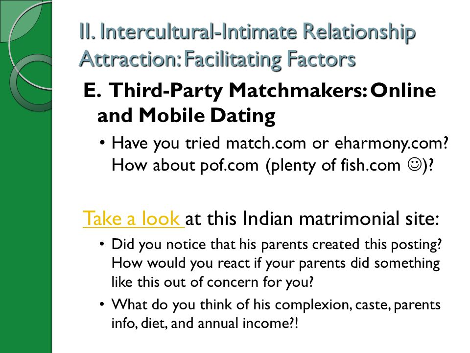 II. Intercultural-Intimate Relationship Attraction: Facilitating Factors E. Third-Party Matchmakers: Online and Mobile Dating Have you tried match.com