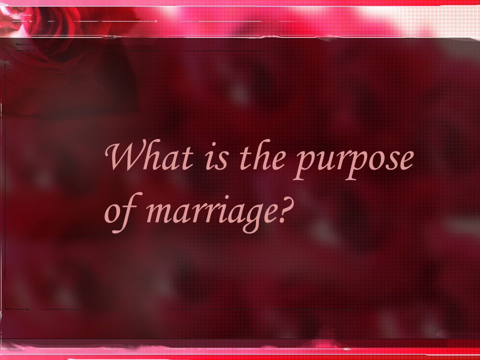 The purpose of marriage is to blending two different personalities into the image of God.