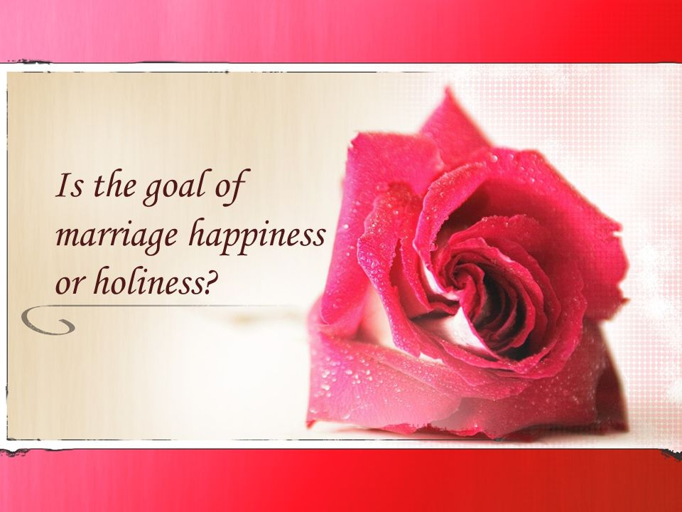 Is the goal of marriage happiness or holiness